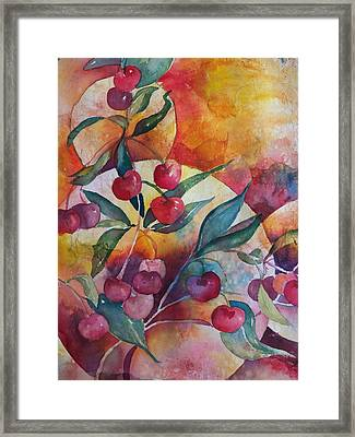 Cherries In The Sun Framed Print by Sandy Collier