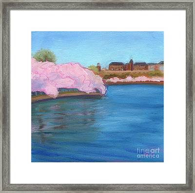 Cherry Blossoms And The Auditor's Building Framed Print by Julie Hart