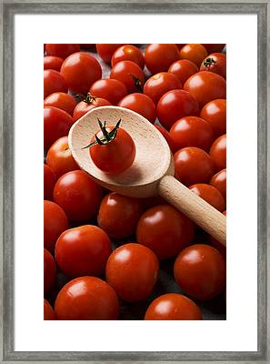 Cherry Tomatoes And Wooden Spoon Framed Print by Garry Gay