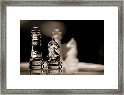 Chess King And Knight Framed Print by Lori Coleman