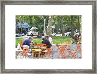 Chess Players In Clark Park Framed Print by Andrew Dinh