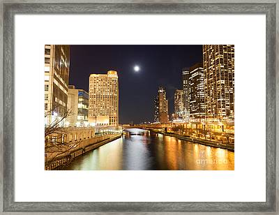 Chicago At Night At Columbus Drive Bridge Framed Print by Paul Velgos