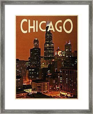 Chicago At Night Framed Print by Flo Karp