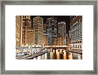 Chicago City Skyline At Night Framed Print by Paul Velgos