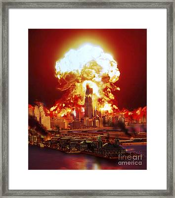 Chicago Disintegrates As A Nuclear Framed Print by Ron Miller