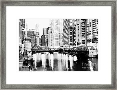 Chicago Downtown At Clark Street Bridge Framed Print by Paul Velgos