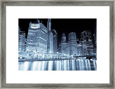 Chicago Downtown Skyline At Night Framed Print by Paul Velgos