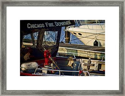 Chicago Fire Department Boat  Framed Print by Sven Brogren