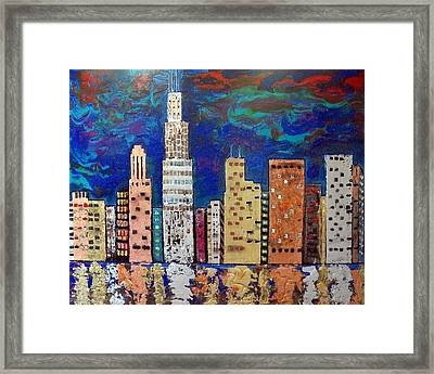 Chicago Metallic Skyline Reflections Framed Print by Char Swift