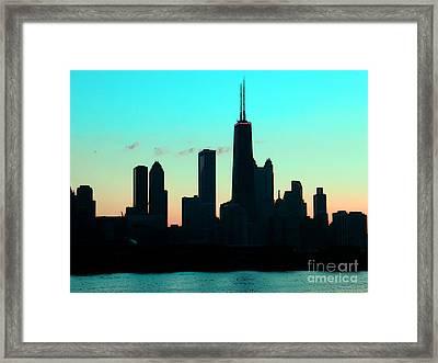 Chicago Skyline Cartoon Framed Print by Sophie Vigneault