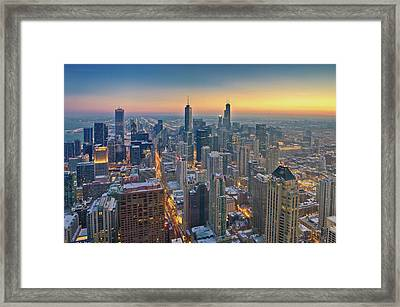 Chicago Skyline In Blue Hour Framed Print by Delobbo.com