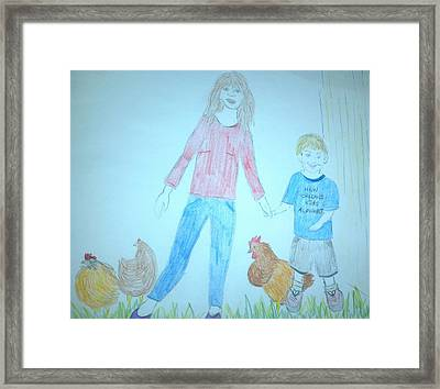 Chickens Framed Print by Julie Butterworth