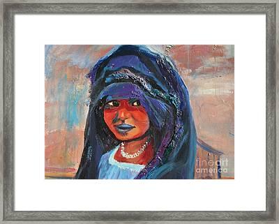 Child Bride Of The Sahara - Close Up Framed Print by Avonelle Kelsey