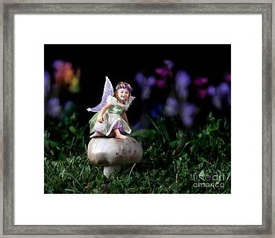 Child Fairy On Mushroom Framed Print by Cindy Singleton
