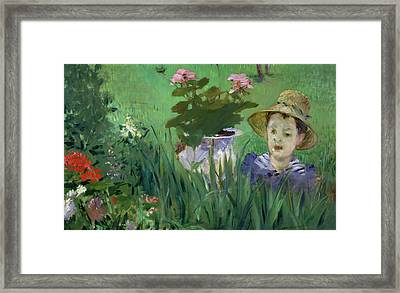 Child In The Flowers Framed Print by Edouard Manet