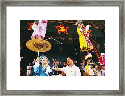 Children Dressed Up For The Cheung Chau Framed Print by Justin Guariglia