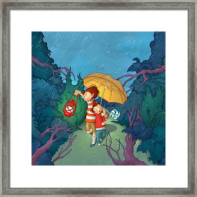 Children On Nocturnal Forest Framed Print by Autogiro Illustration