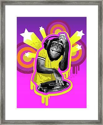 Chimpanzee Dj Framed Print by New Vision Technologies Inc