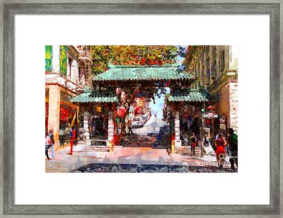 Chinatown Gate In San Francisco . Painterly . 7d7139 Framed Print by Wingsdomain Art and Photography