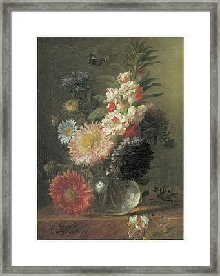 Chinese Aster And Balsam In A Glass Vase Framed Print by Cornelis Van Spaendonck