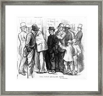 Chinese Immigrants Voting Framed Print by Granger
