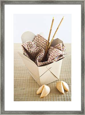 Chinese Takeout Container And Fortune Cookies Framed Print by Pam McLean
