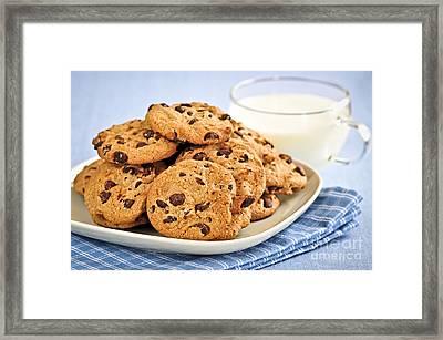 Chocolate Chip Cookies And Milk Framed Print by Elena Elisseeva