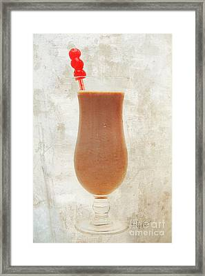 Chocolate Milk With Cherries On Top Framed Print by Andee Design