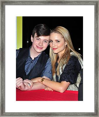 Chris Colfer, Dianna Agron At In-store Framed Print by Everett