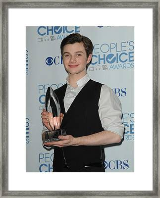 Chris Colfer In The Press Room Framed Print by Everett