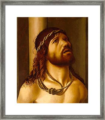 Christ At The Column Framed Print by Antonio de Saliba