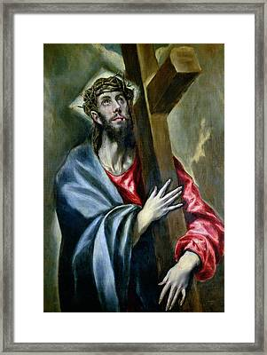 Christ Clasping The Cross Framed Print by El Greco