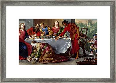 Christ In The House Of Simon The Pharisee Framed Print by Claude Vignon