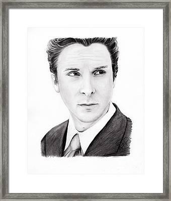 Christian Bale Framed Print by Rosalinda Markle