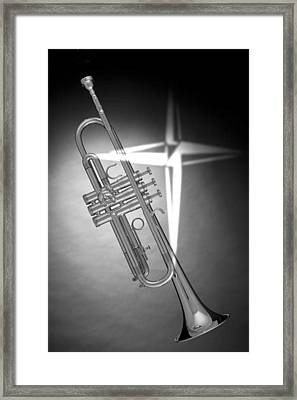 Christian Cross On Trumpet Framed Print by M K  Miller