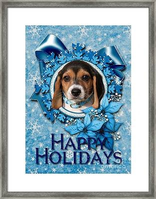 Christmas - Blue Snowflakes Beagle Puppy Framed Print by Renae Laughner