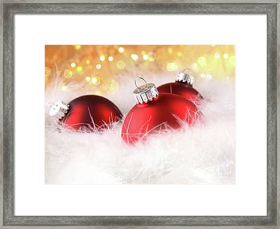 Christmas Balls With Abstract Holiday Background Framed Print by Sandra Cunningham