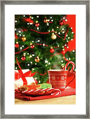Christmas Cookies  Near The  Tree  Framed Print by Sandra Cunningham