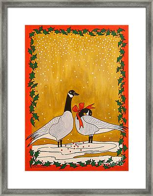Christmas Geese Framed Print by Susan Greenwood Lindsay