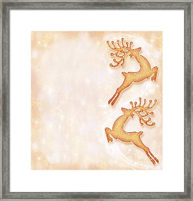 Christmas Holiday Card Festive Background Reindeer Decorative  Framed Print by Anna Omelchenko