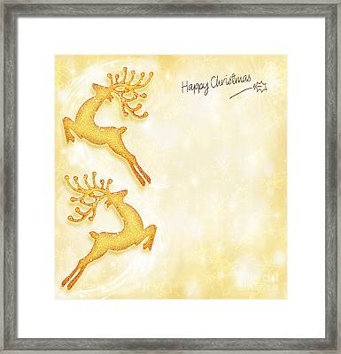 Christmas Holiday Card Golden Background Reindeer Decorative B Framed Print by Anna Omelchenko