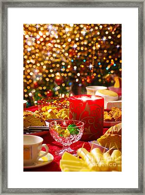 Christmas Table Set Framed Print by Carlos Caetano