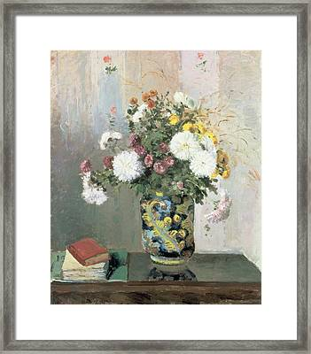 Chrysanthemums In A Chinese Vase Framed Print by Camille Pissarro