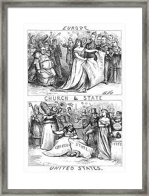 Church/state Cartoon, 1870 Framed Print by Granger