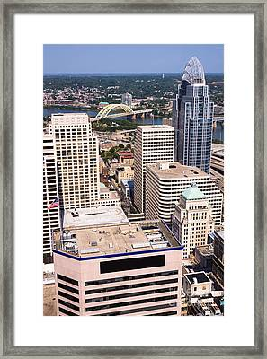 Cincinnati Aerial Skyline Downtown City Buildings Framed Print by Paul Velgos