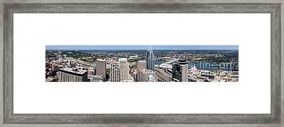 Cincinnati Panorama Aerial Skyline Downtown City Buildings Framed Print by Paul Velgos