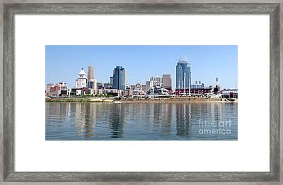 Cincinnati Panoramic Skyline Framed Print by Paul Velgos