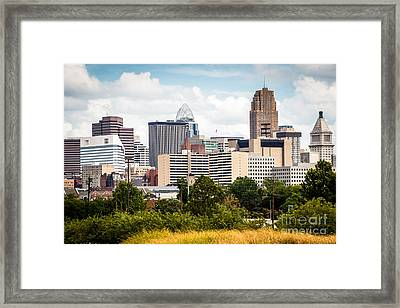 Cincinnati Skyline Downtown City Buildings Framed Print by Paul Velgos