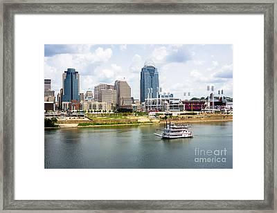 Cincinnati Skyline With Riverboat Photo Framed Print by Paul Velgos