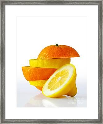 Citrus Slices Framed Print by Carlos Caetano